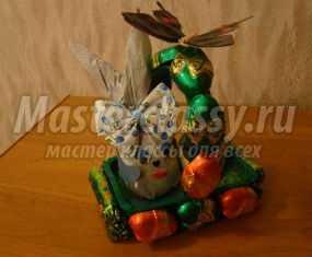Пасхальный подарок. Зайчик из киндер-сюрприза в корзинке из конфет. Мастер-класс