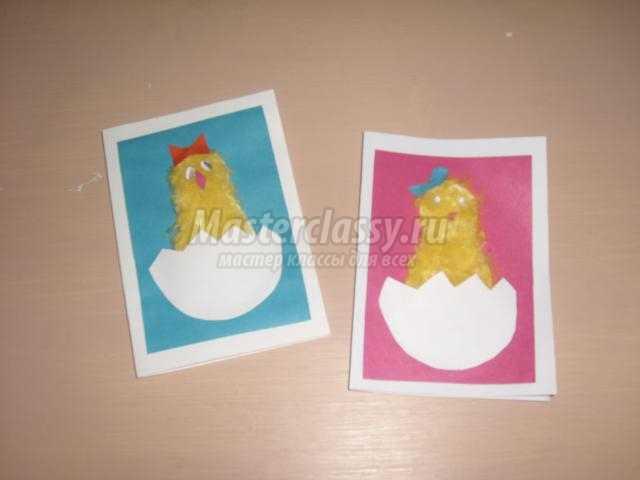 пасхальная открытка из бумаги и ниток. Цыпленок