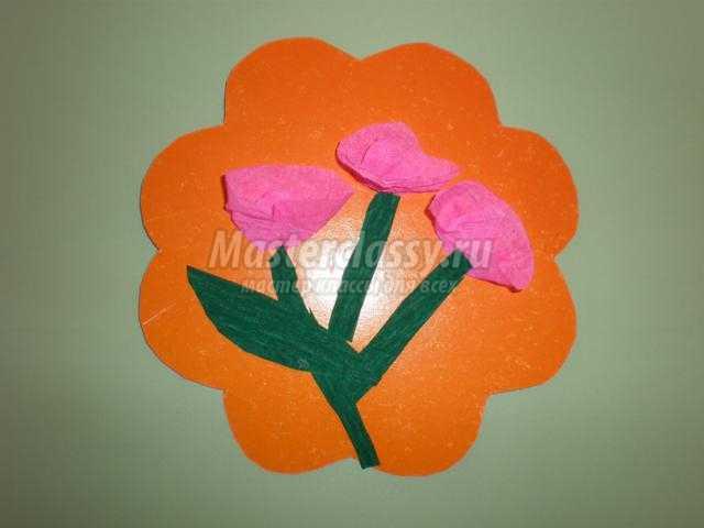 цветочки из креповой бумаги для бабушки