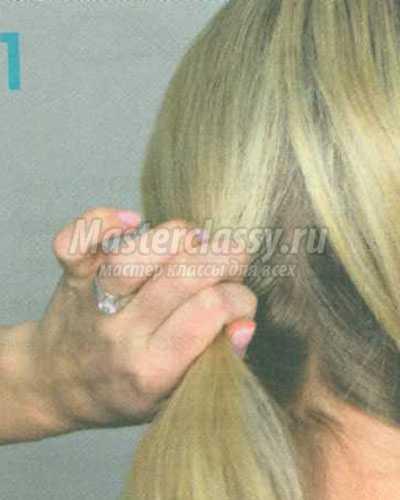 причёска тройной пучок на затылке