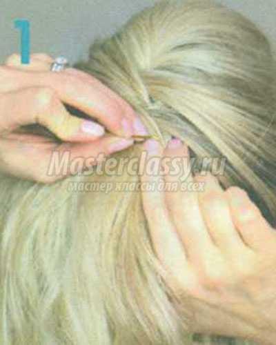 перекрученная французская высокая причёска