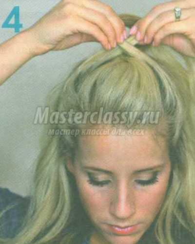 перекрученная причёска на половине волос