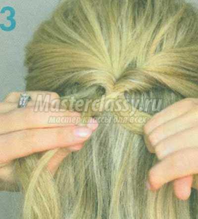 коса рыбий хвост на половине волос