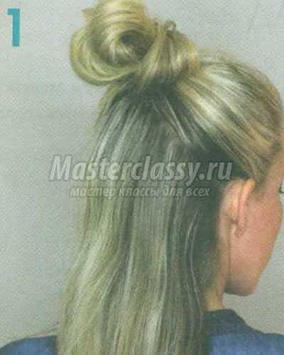 причёска французский плетёный пучок