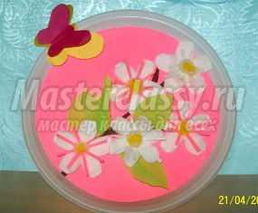 Мастер-класс. Весеннее панно из ватных дисков. Яблоня в цвету