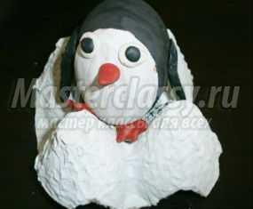 Пасхальный сувенир из яйца. Пингвин. Мастер-класс