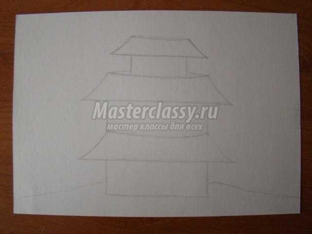 рисунок карандашами с элементами аппликация ветка сакуры