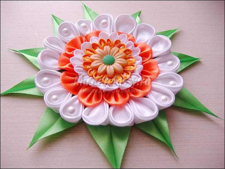 Цветы канзаши с пошаговым