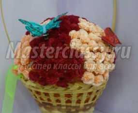 Корзинка с цветами из гофрированной бумаги к празднику. Мастер-класс