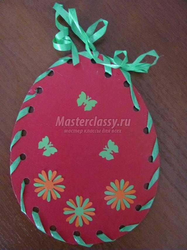 открытка из бумаги и ленты. Пасхальное яйцо