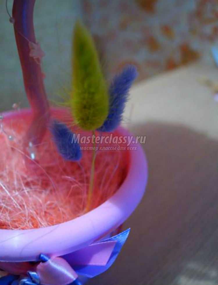 свадебный топиарий из органзы и цветов