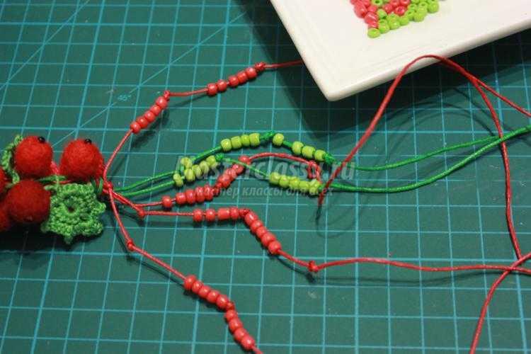 вязано-валяный комплект украшений. Красная смородина
