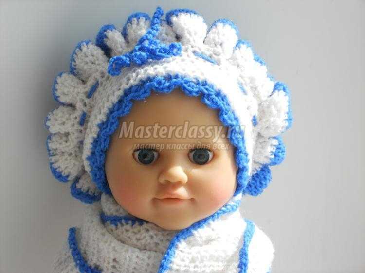детская вязаная беретка и шарфик крючком