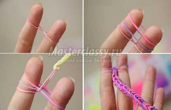 Фото как плести браслеты из резинок на пальцах