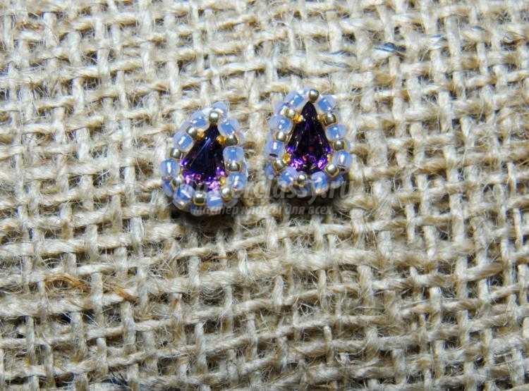 серьги из бисера с кристаллами Сваровски