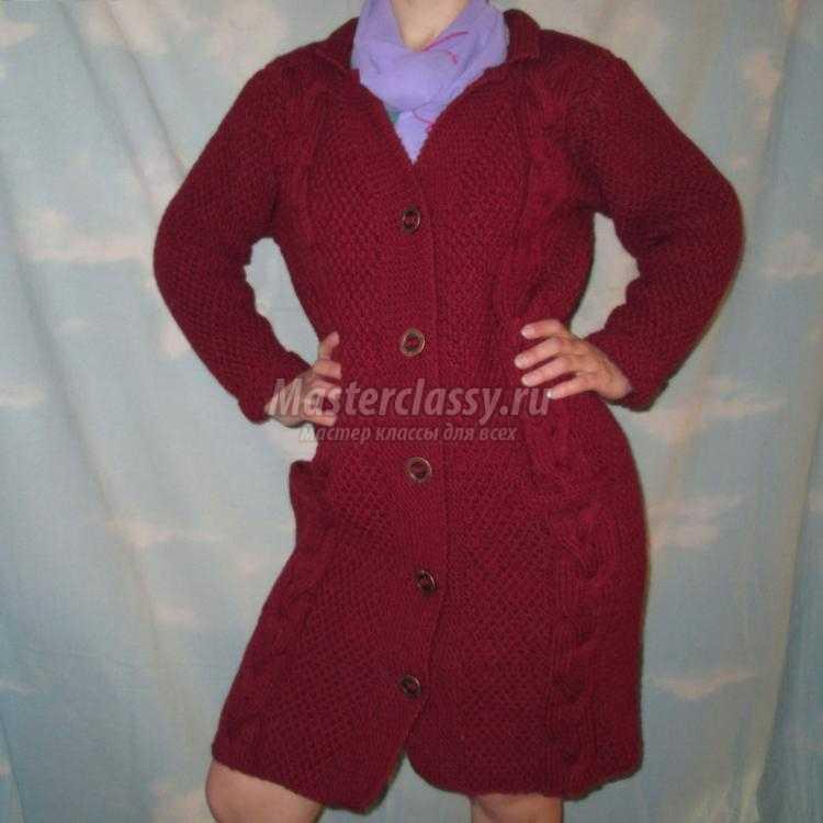 вязание спицами. Женское демисезонное пальто