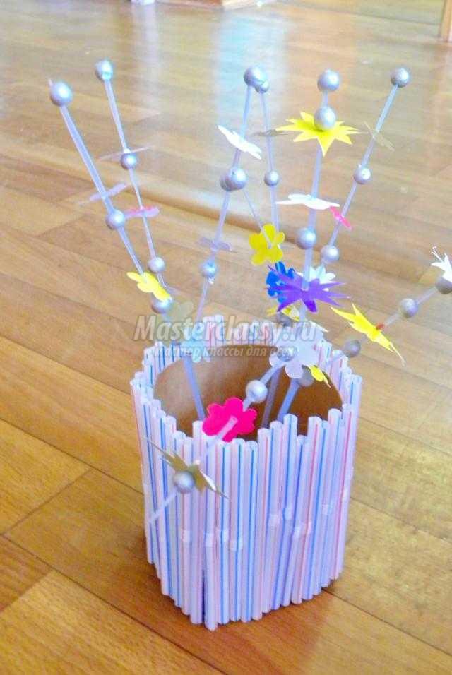 поделка из бумаги и коктейльных трубочек. Цветы весны