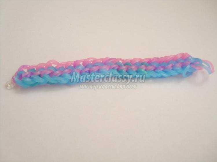 браслет из резинок rainbow loom с двойное плетение