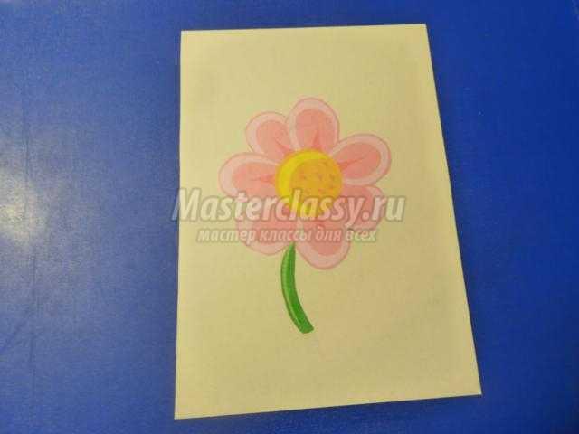аппликация из бумаги. Бабочка на цветке