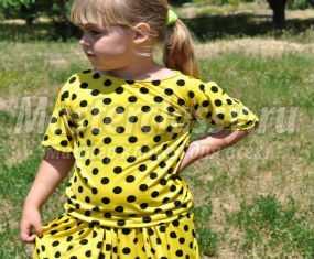 Летний костюм для девочки из легкой ткани. Мастер-класс