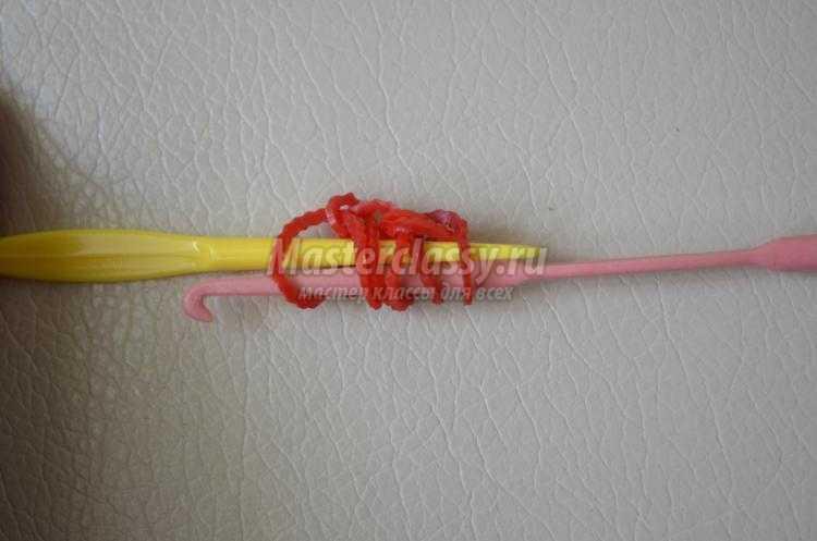 браслет из резинок крючком. Переплет