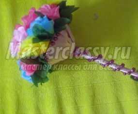 Праздничный букет из искусственных цветов. Мастер-класс