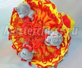 Яркий букет из мишек Тедди. Мастер-класс с пошаговыми фото