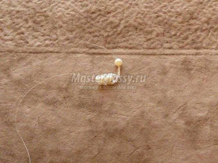 подвеска из бисера с жемчугом. Морской конек