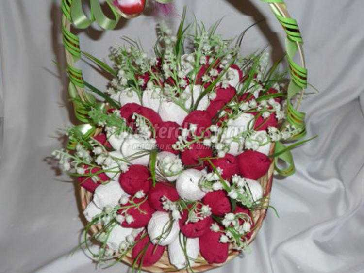 корзинка с тюльпанами и ландышами из конфет