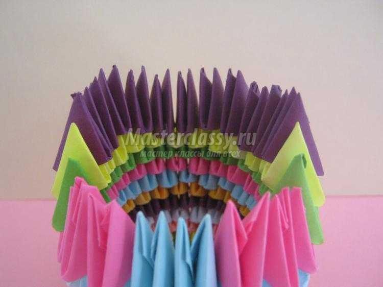 модульное оригами. Узорчатый лебедь