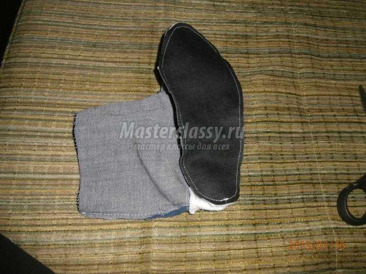 домашние тапочки-сапожки из джинса и флиса