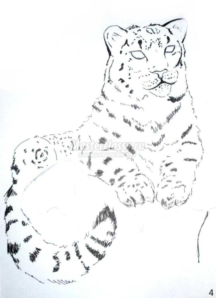 рисуем снежного барса акварелью