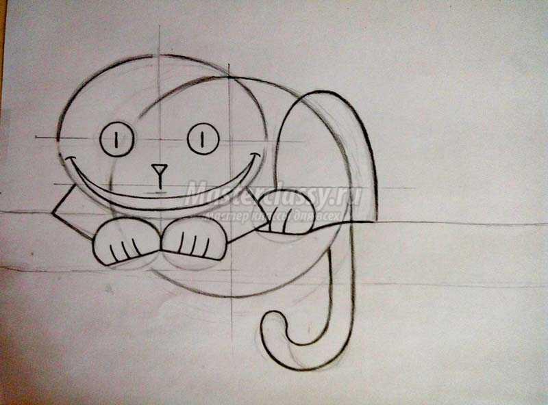 Нарисовать карандашом чеширский кот