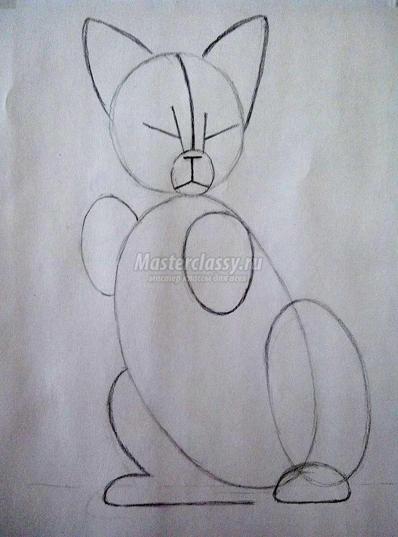 красивая кошка нарисованная карандашом