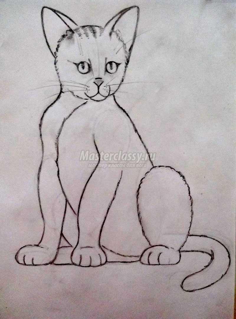 нарисовать кошку карандашом мастер-класс