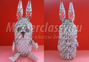 Кролик. Техника модульное оригами. Пошаговый мастер-класс с фото