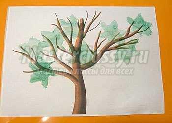 Рисование губкой. Осеннее дерево. Пошаговый мастер-класс