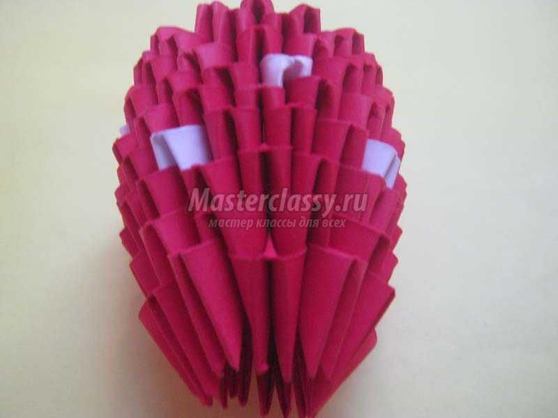 модульное оригами клубничка