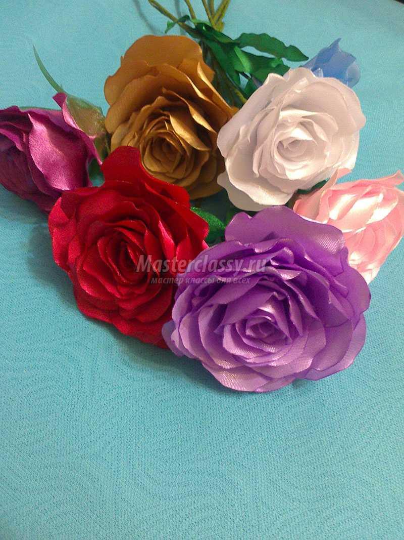 Цветы из атласных лент атласными лентами подарок