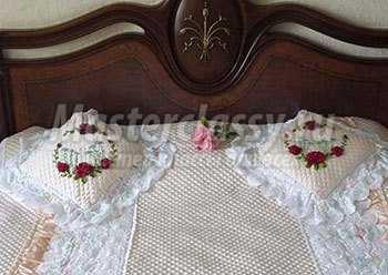 Мастер класс подушка вышивка лентами