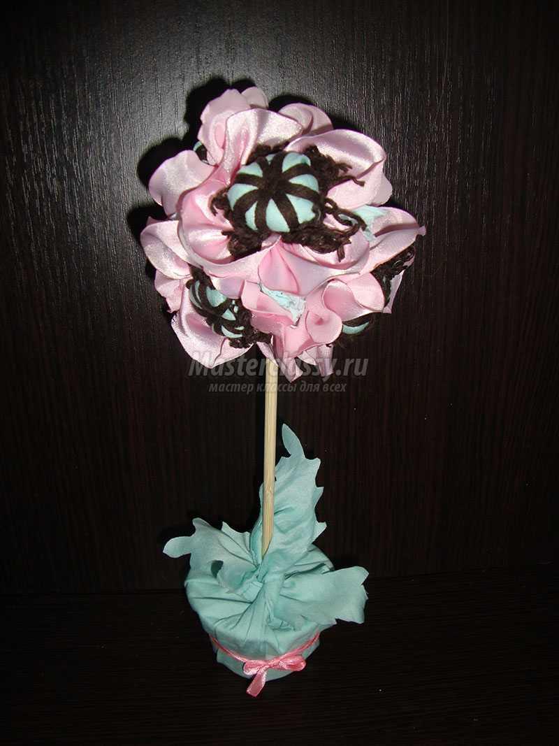 как сделать цветы для топиария