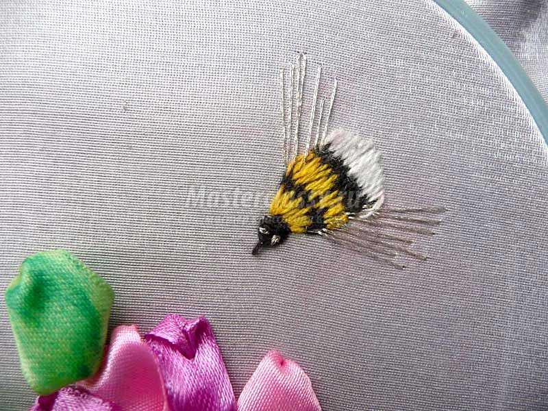 вышивка лентами разных цветов
