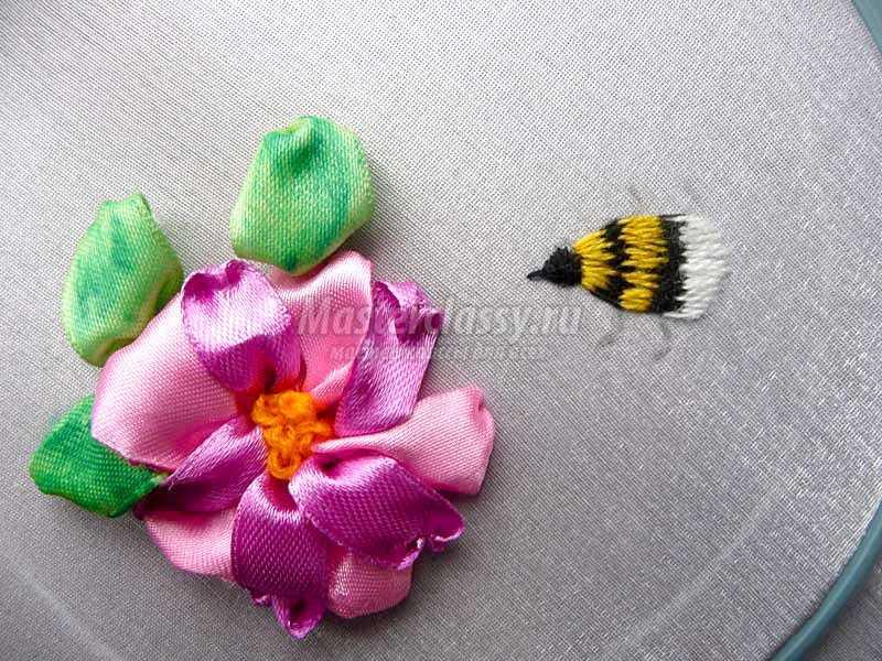 вышивка лентами цветы мастер класс