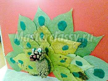 Картина из природного материала. Павлин из шишек и листьев. Мастер-класс