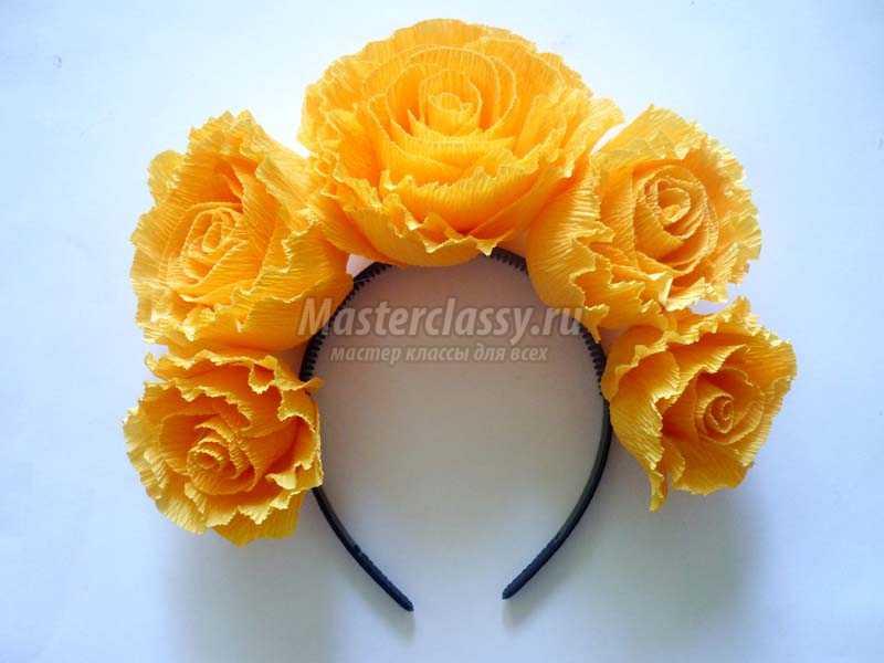 розы из гофрированной бумаги мастер класс