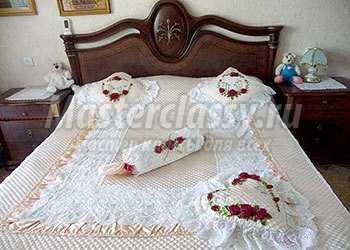 Вышивки лентами на подушках мастер-класс