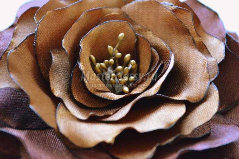 цветы атласных лент своими руками мастер класс