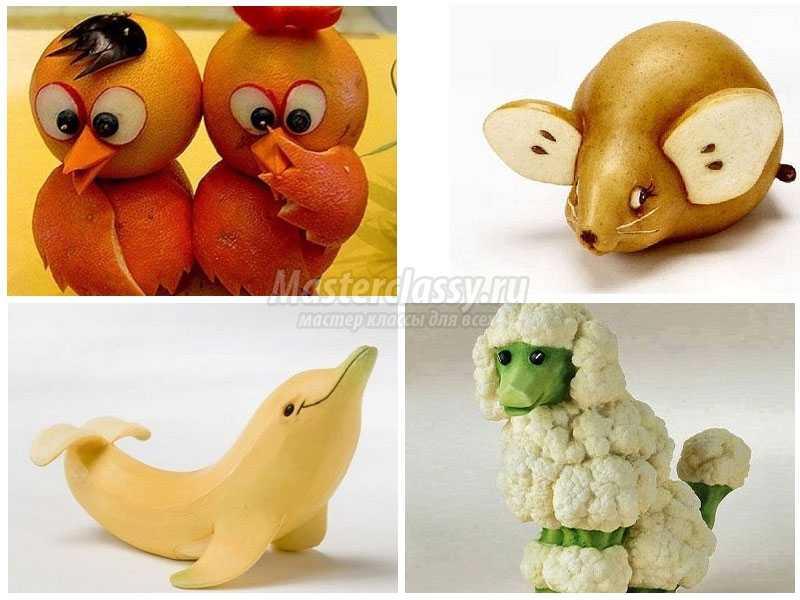 Поделки звери из овощей и фруктов