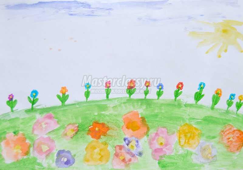 пейзаж детские рисунки акварель