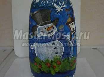 Декорирование бутылки к новому году «Привет от снеговика». Мастер-класс